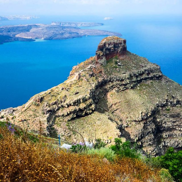 The landmark of Imerovigli on Santorini Its a great spothellip